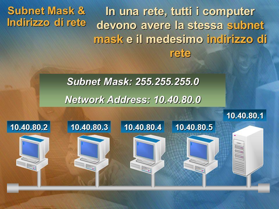 Subnet Mask & Indirizzo di rete In una rete, tutti i computer devono avere la stessa subnet mask e il medesimo indirizzo di rete 10.40.80.210.40.80.31