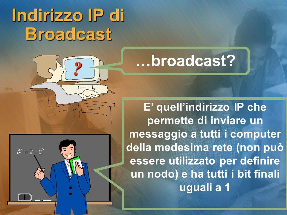 Indirizzo IP di Broadcast ? E quellindirizzo IP che permette di inviare un messaggio a tutti i computer della medesima rete (non può essere utilizzato