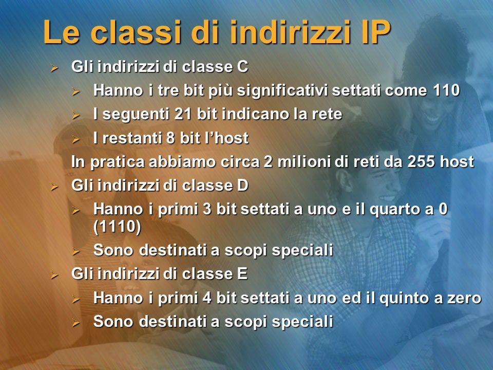 Le classi di indirizzi IP Gli indirizzi di classe C Gli indirizzi di classe C Hanno i tre bit più significativi settati come 110 Hanno i tre bit più s