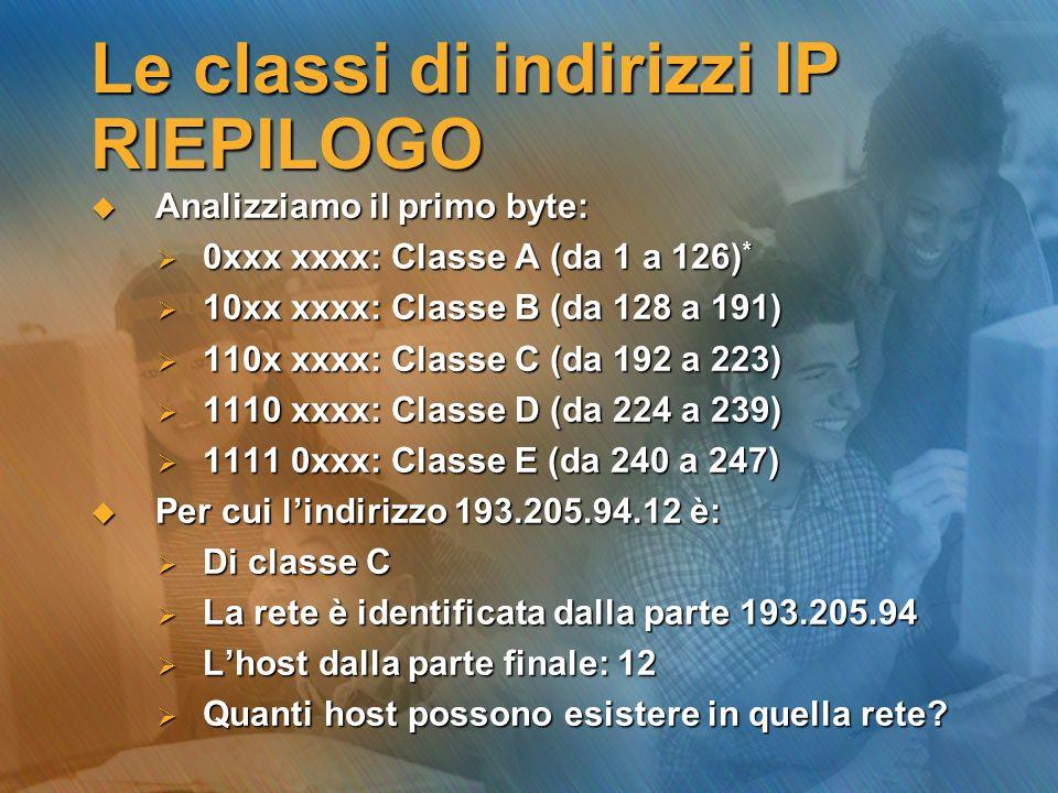 Le classi di indirizzi IP RIEPILOGO Analizziamo il primo byte: Analizziamo il primo byte: 0xxx xxxx: Classe A (da 1 a 126) * 0xxx xxxx: Classe A (da 1