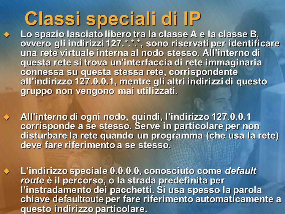 Classi speciali di IP Lo spazio lasciato libero tra la classe A e la classe B, ovvero gli indirizzi 127.*.*.*, sono riservati per identificare una ret