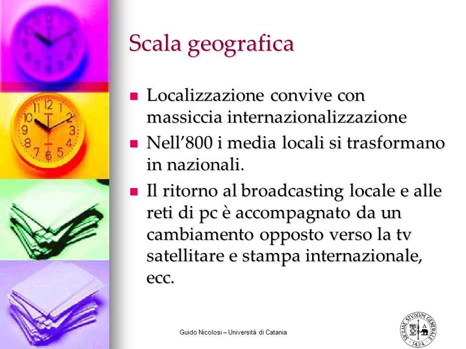 Guido Nicolosi – Università di Catania Scala geografica Localizzazione convive con massiccia internazionalizzazione Localizzazione convive con massiccia internazionalizzazione Nell800 i media locali si trasformano in nazionali.