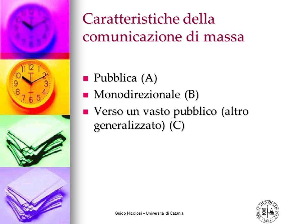 Guido Nicolosi – Università di Catania Caratteristiche della comunicazione di massa Pubblica (A) Pubblica (A) Monodirezionale (B) Monodirezionale (B) Verso un vasto pubblico (altro generalizzato) (C) Verso un vasto pubblico (altro generalizzato) (C)