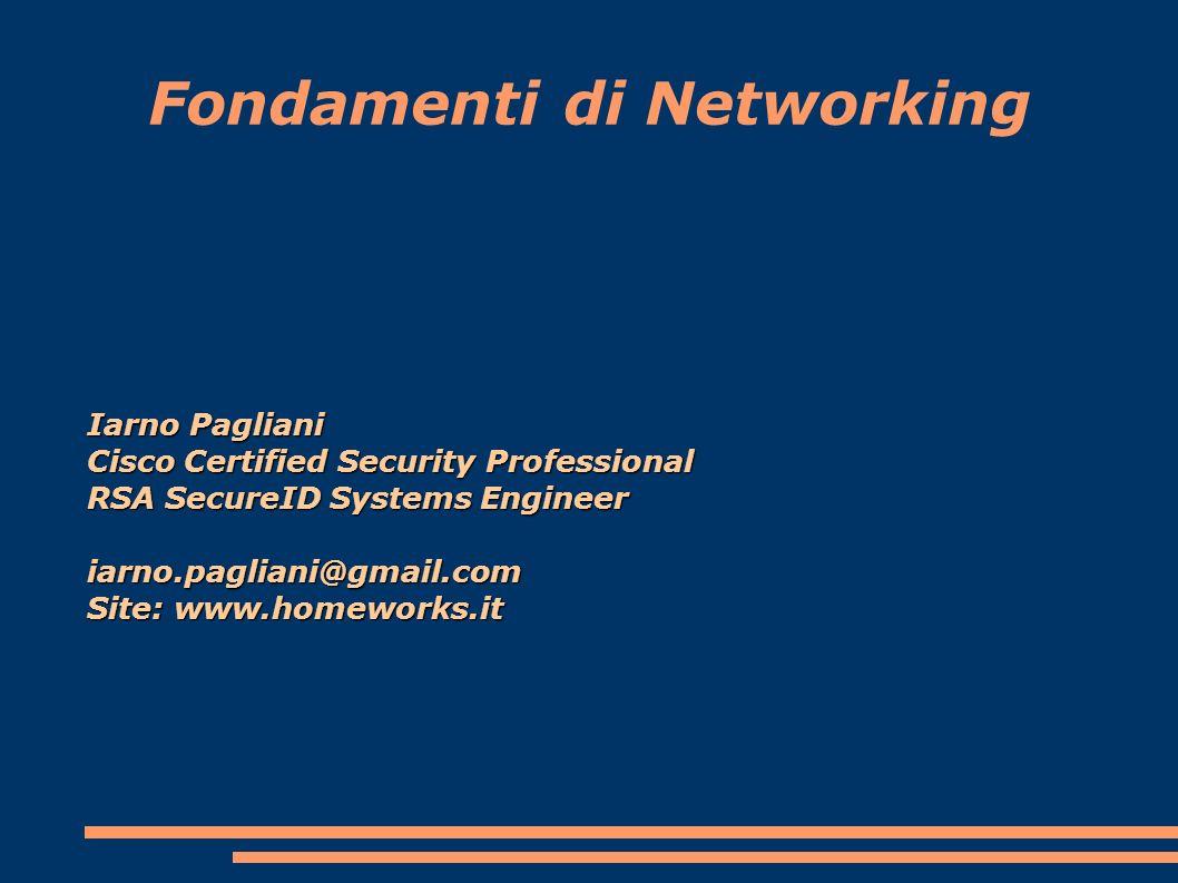 Fondamenti di Networking Iarno Pagliani Cisco Certified Security Professional RSA SecureID Systems Engineer iarno.pagliani@gmail.com Site: www.homeworks.it