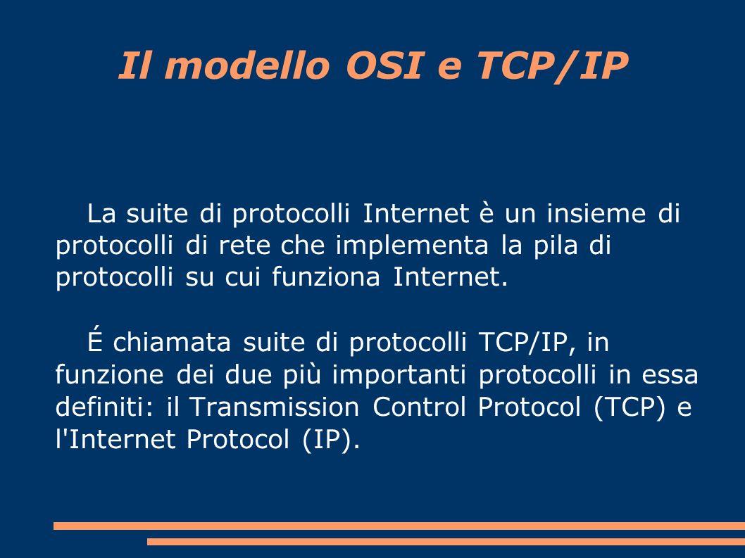 La suite di protocolli Internet è un insieme di protocolli di rete che implementa la pila di protocolli su cui funziona Internet.