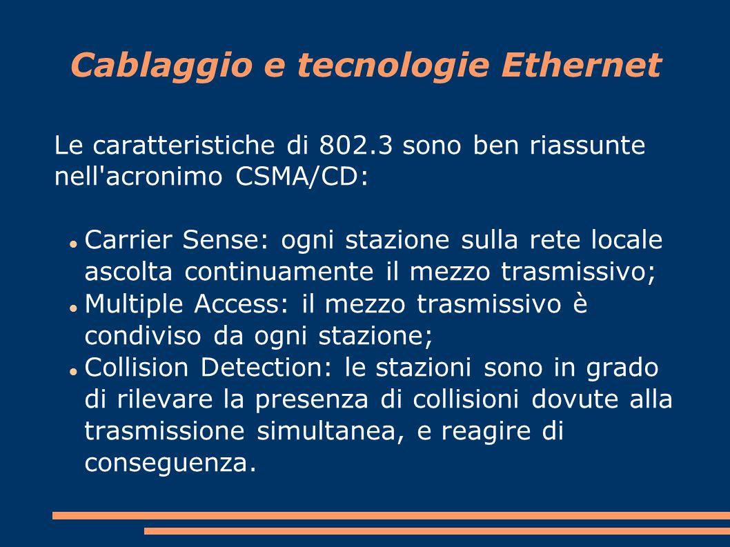 Le caratteristiche di 802.3 sono ben riassunte nell acronimo CSMA/CD: Carrier Sense: ogni stazione sulla rete locale ascolta continuamente il mezzo trasmissivo; Multiple Access: il mezzo trasmissivo è condiviso da ogni stazione; Collision Detection: le stazioni sono in grado di rilevare la presenza di collisioni dovute alla trasmissione simultanea, e reagire di conseguenza.