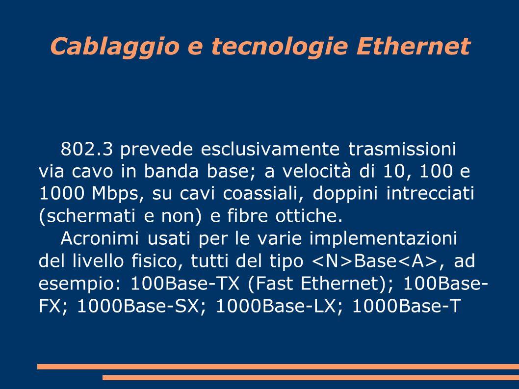 Cablaggio e tecnologie Ethernet 802.3 prevede esclusivamente trasmissioni via cavo in banda base; a velocità di 10, 100 e 1000 Mbps, su cavi coassiali, doppini intrecciati (schermati e non) e fibre ottiche.