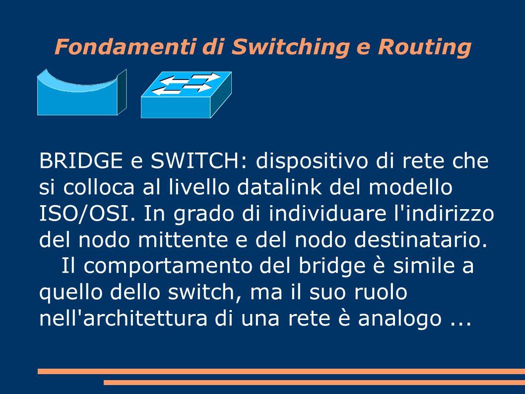 BRIDGE e SWITCH: dispositivo di rete che si colloca al livello datalink del modello ISO/OSI.