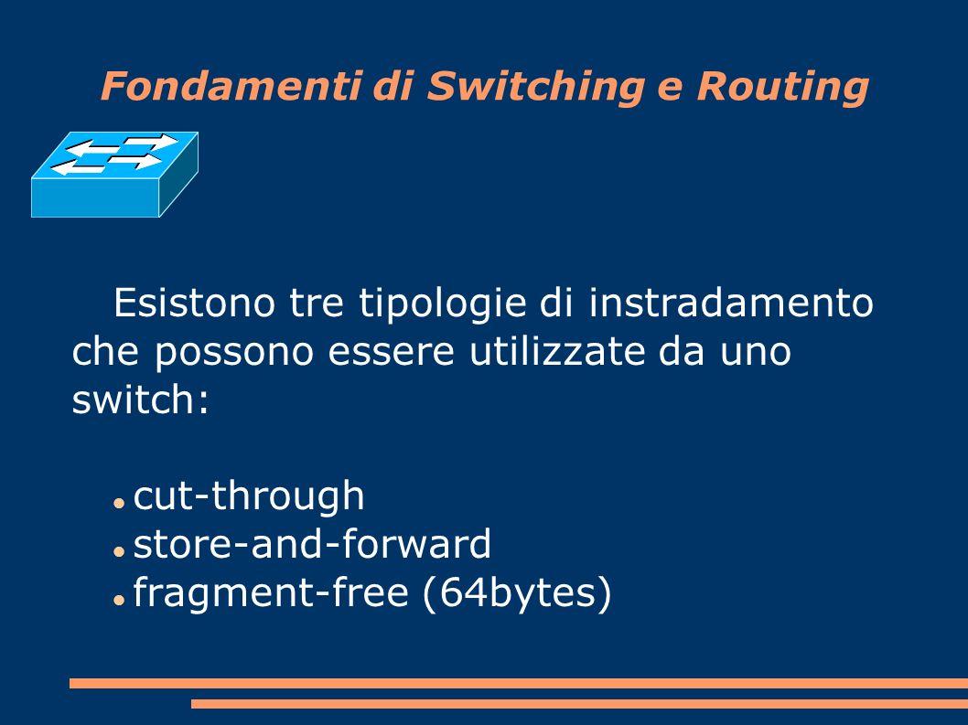Fondamenti di Switching e Routing Esistono tre tipologie di instradamento che possono essere utilizzate da uno switch: cut-through store-and-forward fragment-free (64bytes)