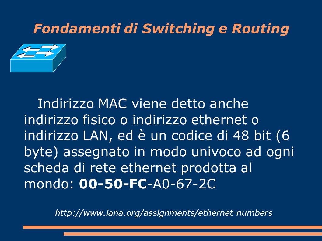 Fondamenti di Switching e Routing Indirizzo MAC viene detto anche indirizzo fisico o indirizzo ethernet o indirizzo LAN, ed è un codice di 48 bit (6 byte) assegnato in modo univoco ad ogni scheda di rete ethernet prodotta al mondo: 00-50-FC-A0-67-2C http://www.iana.org/assignments/ethernet-numbers