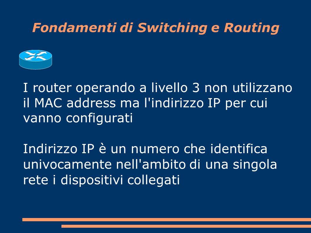 Fondamenti di Switching e Routing I router operando a livello 3 non utilizzano il MAC address ma l indirizzo IP per cui vanno configurati Indirizzo IP è un numero che identifica univocamente nell ambito di una singola rete i dispositivi collegati