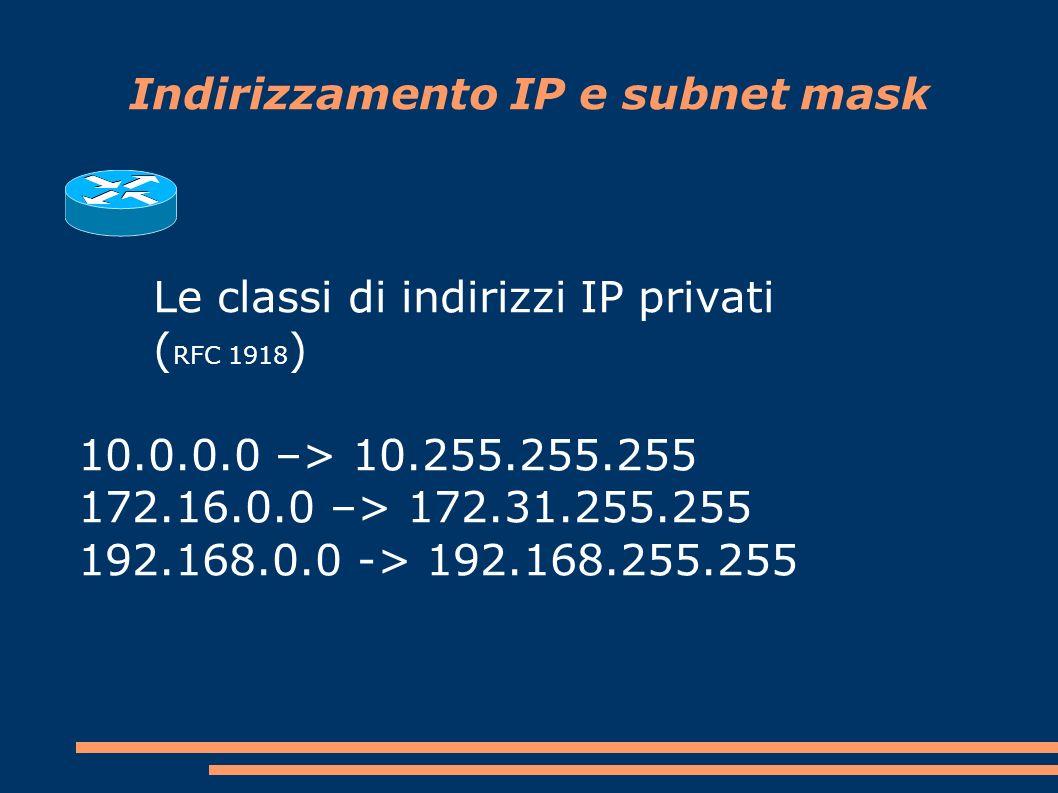 Indirizzamento IP e subnet mask Le classi di indirizzi IP privati ( RFC 1918 ) 10.0.0.0 –> 10.255.255.255 172.16.0.0 –> 172.31.255.255 192.168.0.0 -> 192.168.255.255