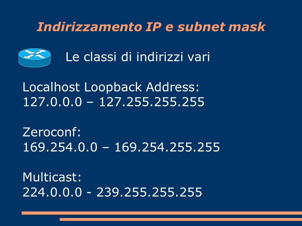 Indirizzamento IP e subnet mask Le classi di indirizzi vari Localhost Loopback Address: 127.0.0.0 – 127.255.255.255 Zeroconf: 169.254.0.0 – 169.254.255.255 Multicast: 224.0.0.0 - 239.255.255.255