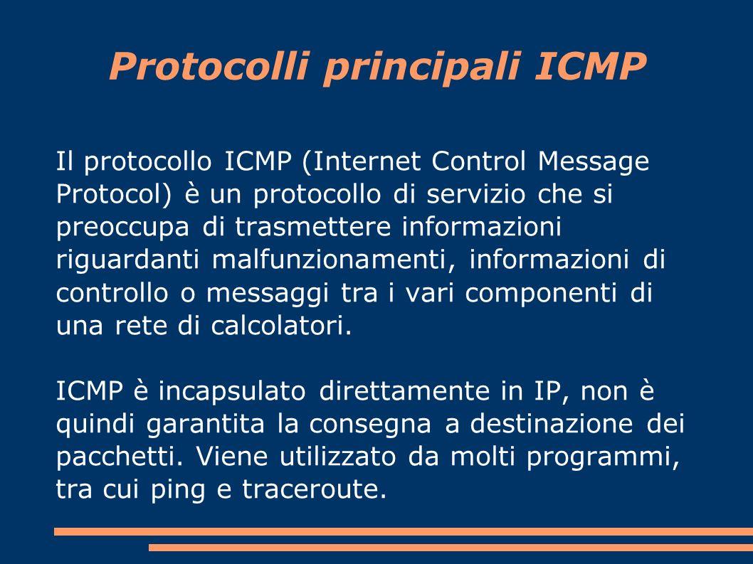 Protocolli principali ICMP Il protocollo ICMP (Internet Control Message Protocol) è un protocollo di servizio che si preoccupa di trasmettere informazioni riguardanti malfunzionamenti, informazioni di controllo o messaggi tra i vari componenti di una rete di calcolatori.
