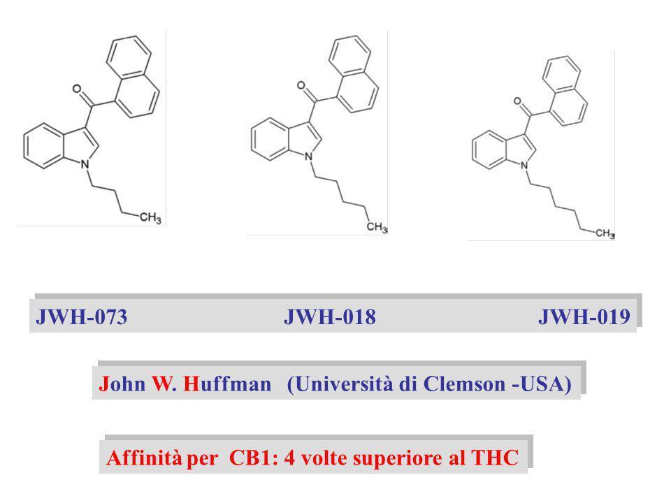 JWH-073 JWH-018 JWH-019 John W. Huffman (Università di Clemson -USA) Affinità per CB1: 4 volte superiore al THC