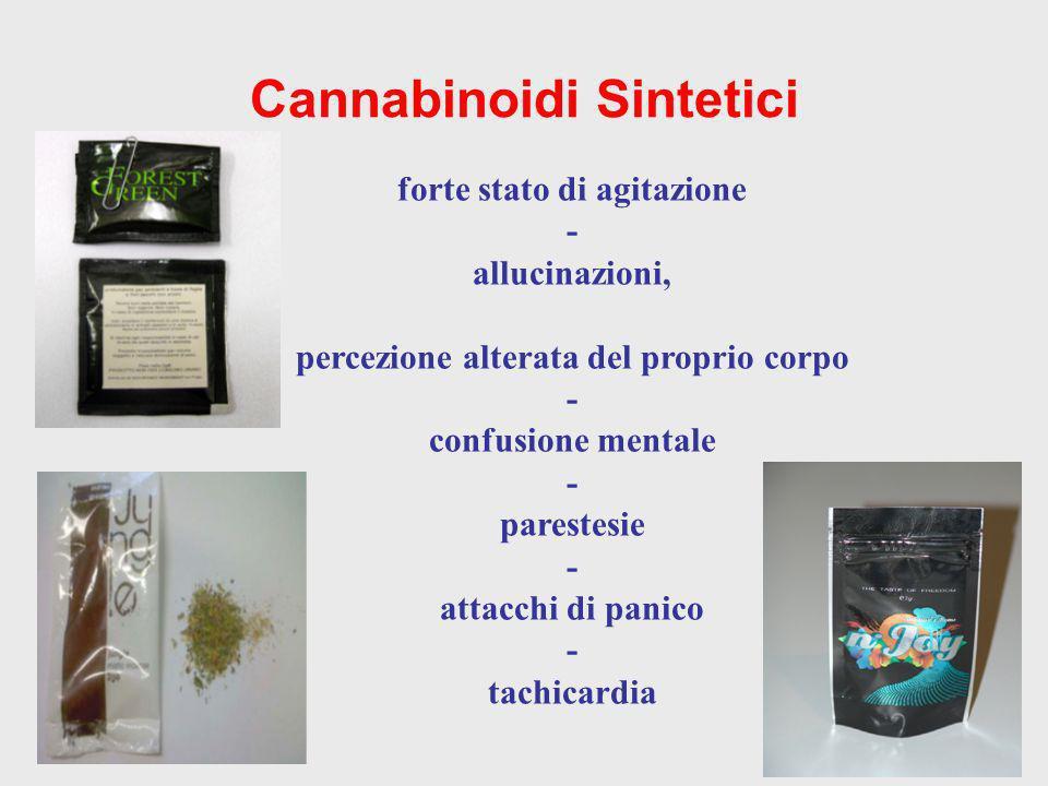 Cannabinoidi Sintetici forte stato di agitazione - allucinazioni, percezione alterata del proprio corpo - confusione mentale - parestesie - attacchi d