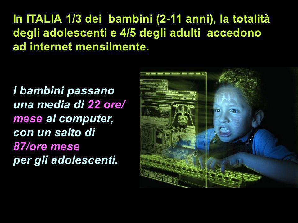 In ITALIA 1/3 dei bambini (2-11 anni), la totalità degli adolescenti e 4/5 degli adulti accedono ad internet mensilmente. I bambini passano una media