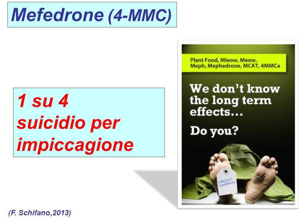Mefedrone (4-MMC) 1 su 4 suicidio per impiccagione (F. Schifano,2013)