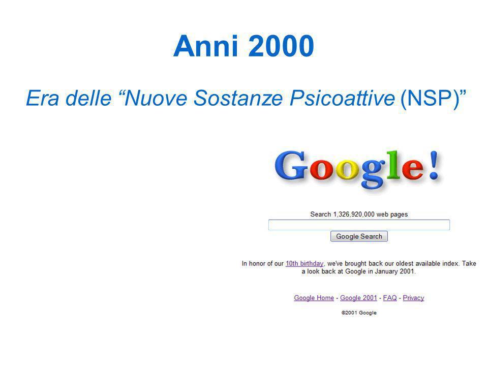 Anni 2000 Era delle Nuove Sostanze Psicoattive (NSP)