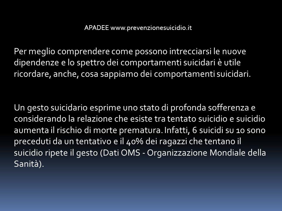 APADEE www.prevenzionesuicidio.it Per meglio comprendere come possono intrecciarsi le nuove dipendenze e lo spettro dei comportamenti suicidari è util