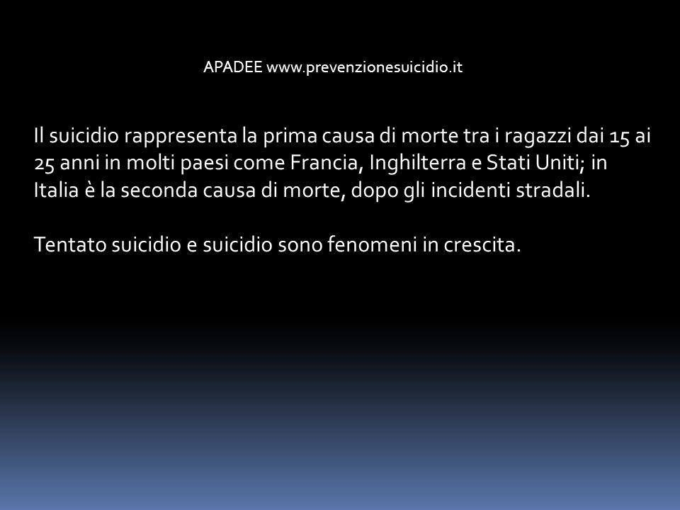 APADEE www.prevenzionesuicidio.it Il suicidio rappresenta la prima causa di morte tra i ragazzi dai 15 ai 25 anni in molti paesi come Francia, Inghilt