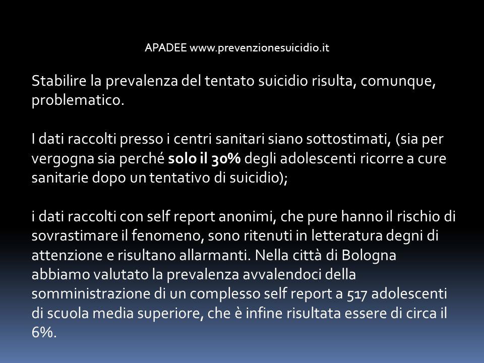APADEE www.prevenzionesuicidio.it Stabilire la prevalenza del tentato suicidio risulta, comunque, problematico. I dati raccolti presso i centri sanita