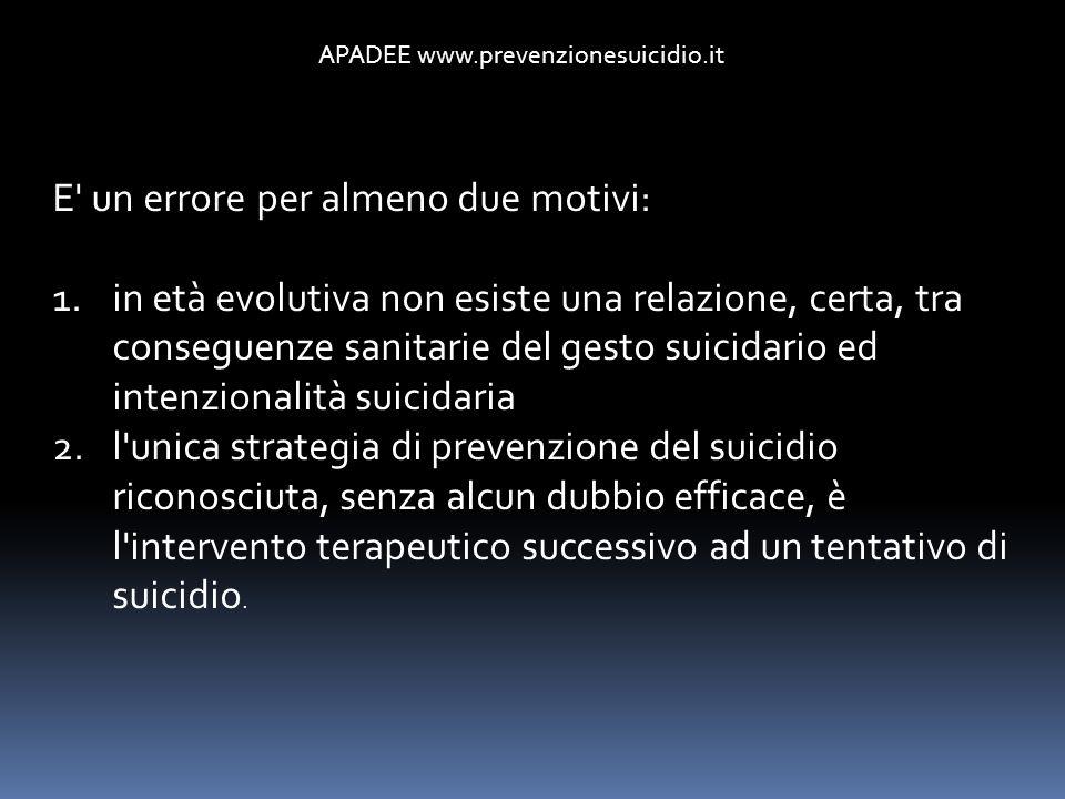 APADEE www.prevenzionesuicidio.it E' un errore per almeno due motivi: 1.in età evolutiva non esiste una relazione, certa, tra conseguenze sanitarie de