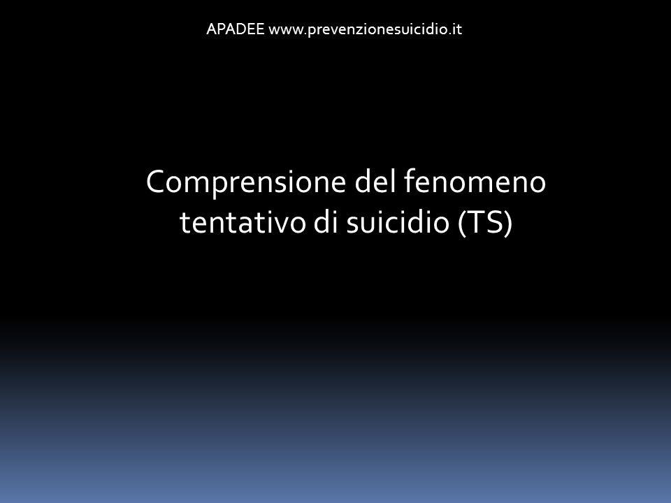 APADEE www.prevenzionesuicidio.it Comprensione del fenomeno tentativo di suicidio (TS)
