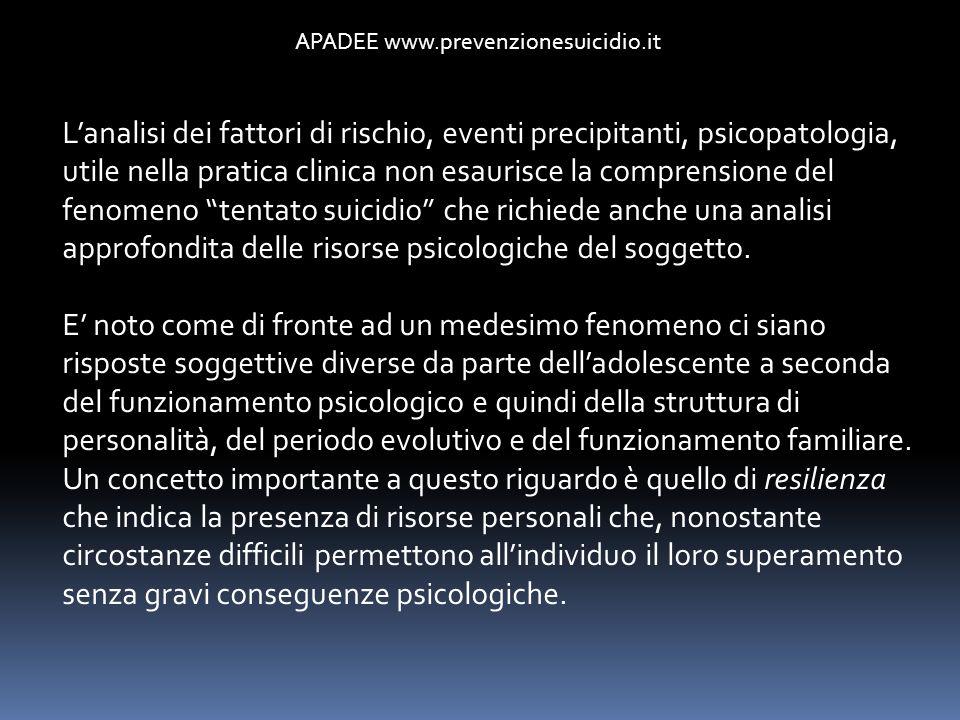 APADEE www.prevenzionesuicidio.it Lanalisi dei fattori di rischio, eventi precipitanti, psicopatologia, utile nella pratica clinica non esaurisce la c