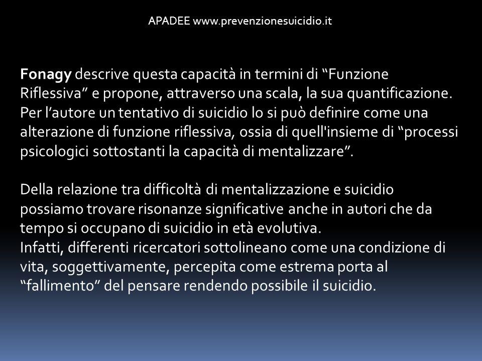 APADEE www.prevenzionesuicidio.it Fonagy descrive questa capacità in termini di Funzione Riflessiva e propone, attraverso una scala, la sua quantifica