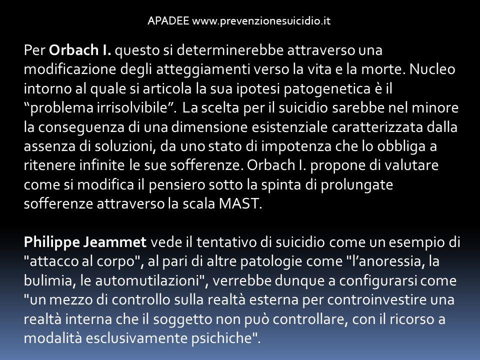 APADEE www.prevenzionesuicidio.it Per Orbach I. questo si determinerebbe attraverso una modificazione degli atteggiamenti verso la vita e la morte. Nu