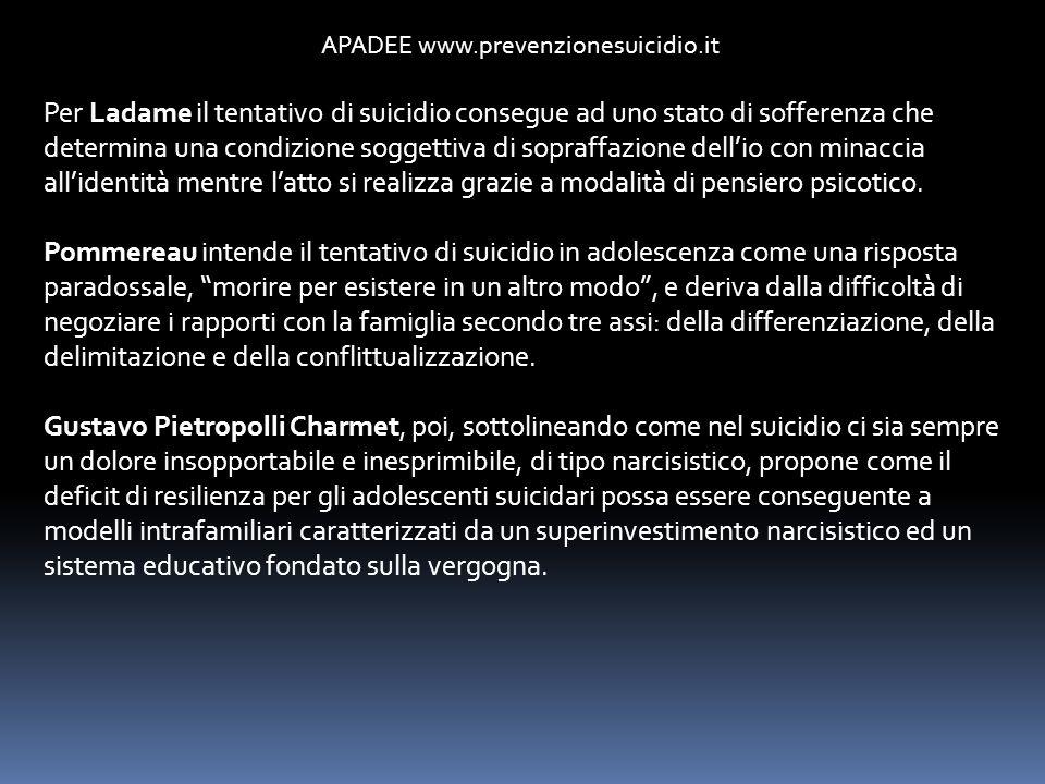 APADEE www.prevenzionesuicidio.it Per Ladame il tentativo di suicidio consegue ad uno stato di sofferenza che determina una condizione soggettiva di s