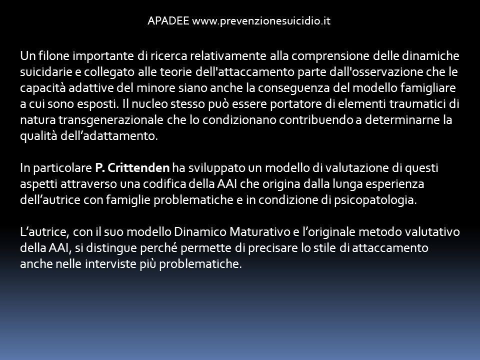 APADEE www.prevenzionesuicidio.it Un filone importante di ricerca relativamente alla comprensione delle dinamiche suicidarie e collegato alle teorie d