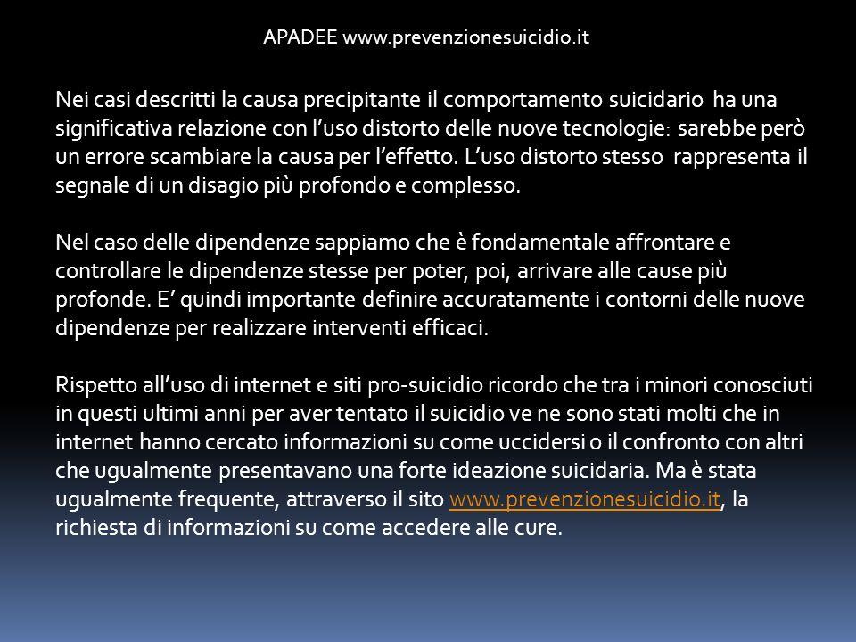 APADEE www.prevenzionesuicidio.it Nei casi descritti la causa precipitante il comportamento suicidario ha una significativa relazione con luso distort