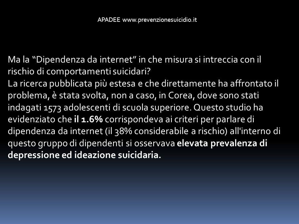 Ma la Dipendenza da internet in che misura si intreccia con il rischio di comportamenti suicidari? La ricerca pubblicata più estesa e che direttamente