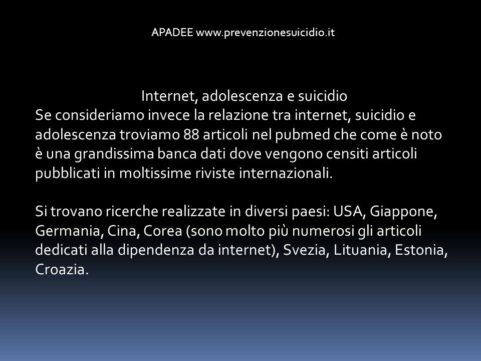 Internet, adolescenza e suicidio Se consideriamo invece la relazione tra internet, suicidio e adolescenza troviamo 88 articoli nel pubmed che come è n