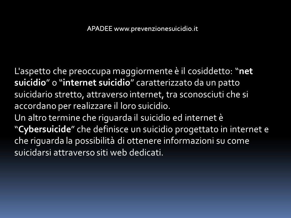 L'aspetto che preoccupa maggiormente è il cosiddetto: net suicidio o internet suicidio caratterizzato da un patto suicidario stretto, attraverso inter