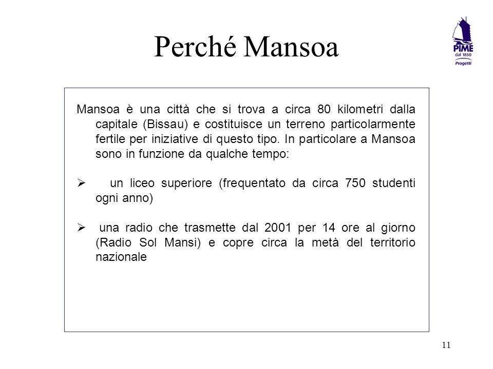 11 Perché Mansoa Mansoa è una città che si trova a circa 80 kilometri dalla capitale (Bissau) e costituisce un terreno particolarmente fertile per iniziative di questo tipo.