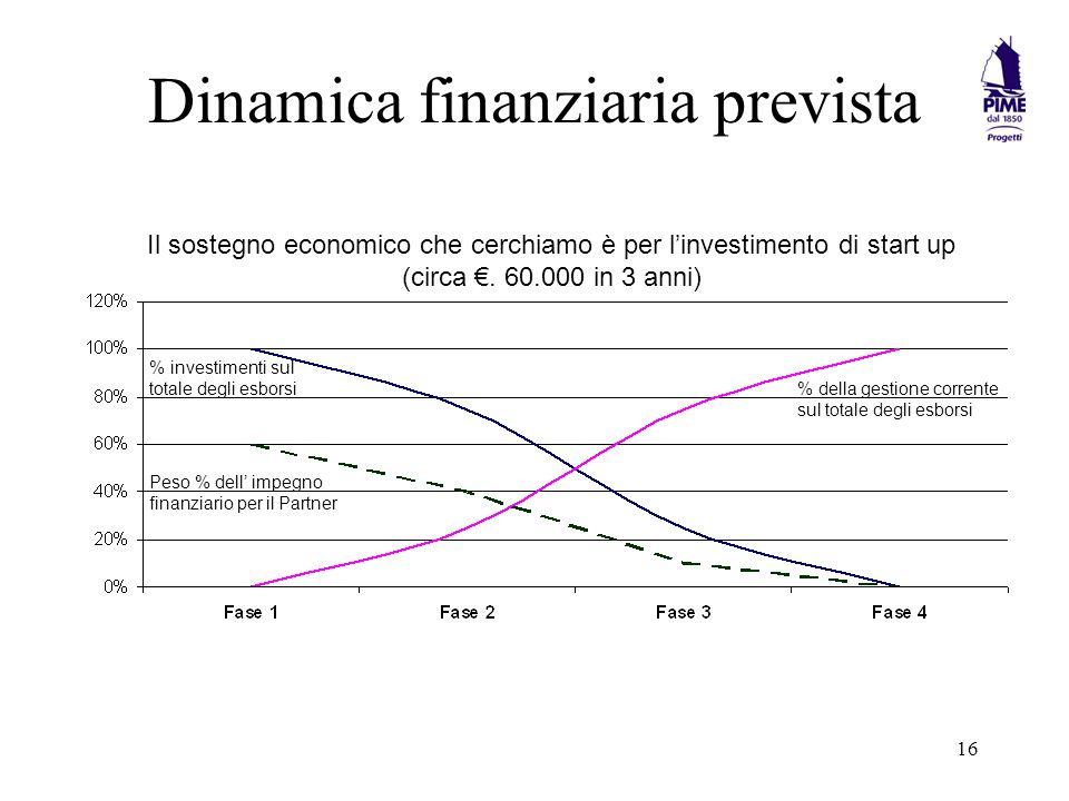 16 Dinamica finanziaria prevista Il sostegno economico che cerchiamo è per linvestimento di start up (circa.