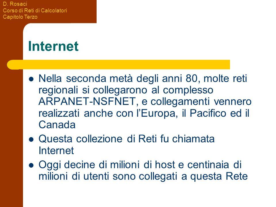D. Rosaci Corso di Reti di Calcolatori Capitolo Terzo Internet Nella seconda metà degli anni 80, molte reti regionali si collegarono al complesso ARPA