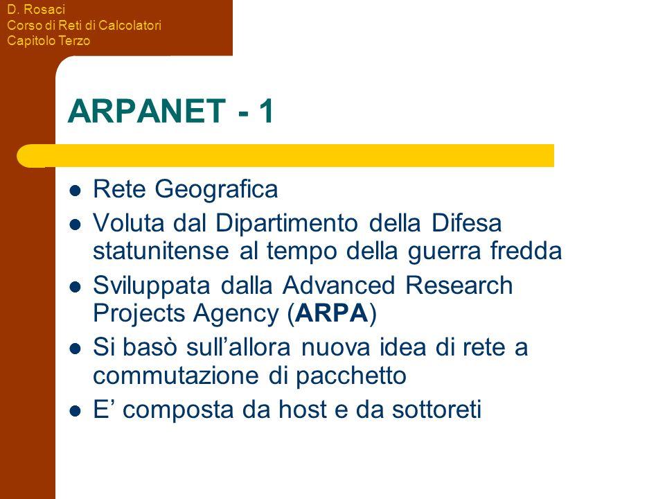 D. Rosaci Corso di Reti di Calcolatori Capitolo Terzo ARPANET - 1 Rete Geografica Voluta dal Dipartimento della Difesa statunitense al tempo della gue