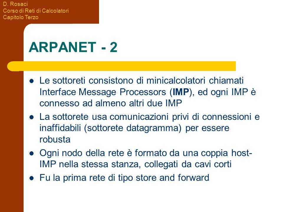 D. Rosaci Corso di Reti di Calcolatori Capitolo Terzo ARPANET - 2 Le sottoreti consistono di minicalcolatori chiamati Interface Message Processors (IM