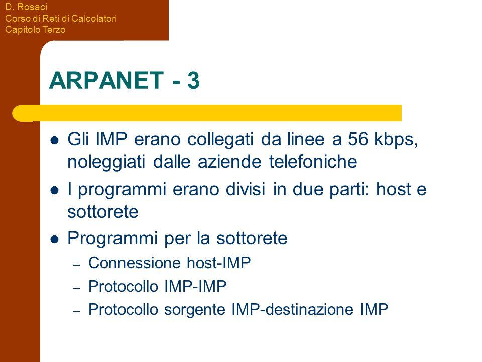 D. Rosaci Corso di Reti di Calcolatori Capitolo Terzo ARPANET - 3 Gli IMP erano collegati da linee a 56 kbps, noleggiati dalle aziende telefoniche I p