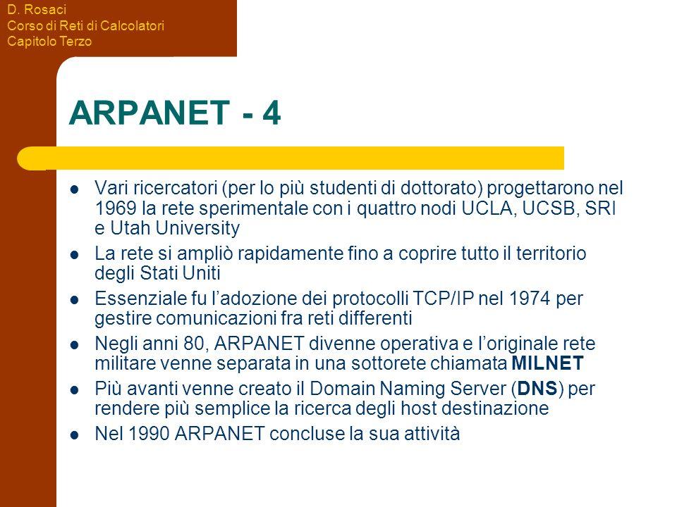 D. Rosaci Corso di Reti di Calcolatori Capitolo Terzo ARPANET - 4 Vari ricercatori (per lo più studenti di dottorato) progettarono nel 1969 la rete sp