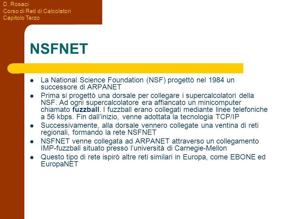 D. Rosaci Corso di Reti di Calcolatori Capitolo Terzo NSFNET La National Science Foundation (NSF) progettò nel 1984 un successore di ARPANET Prima si