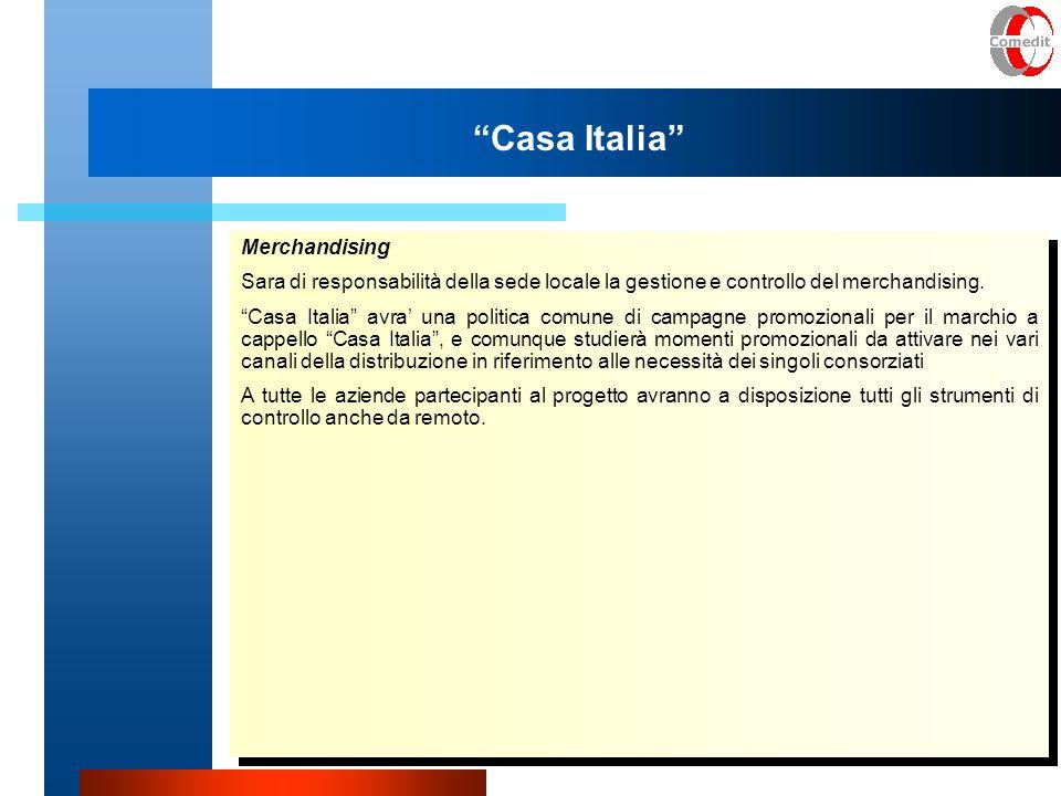 Casa Italia Merchandising Sara di responsabilità della sede locale la gestione e controllo del merchandising.