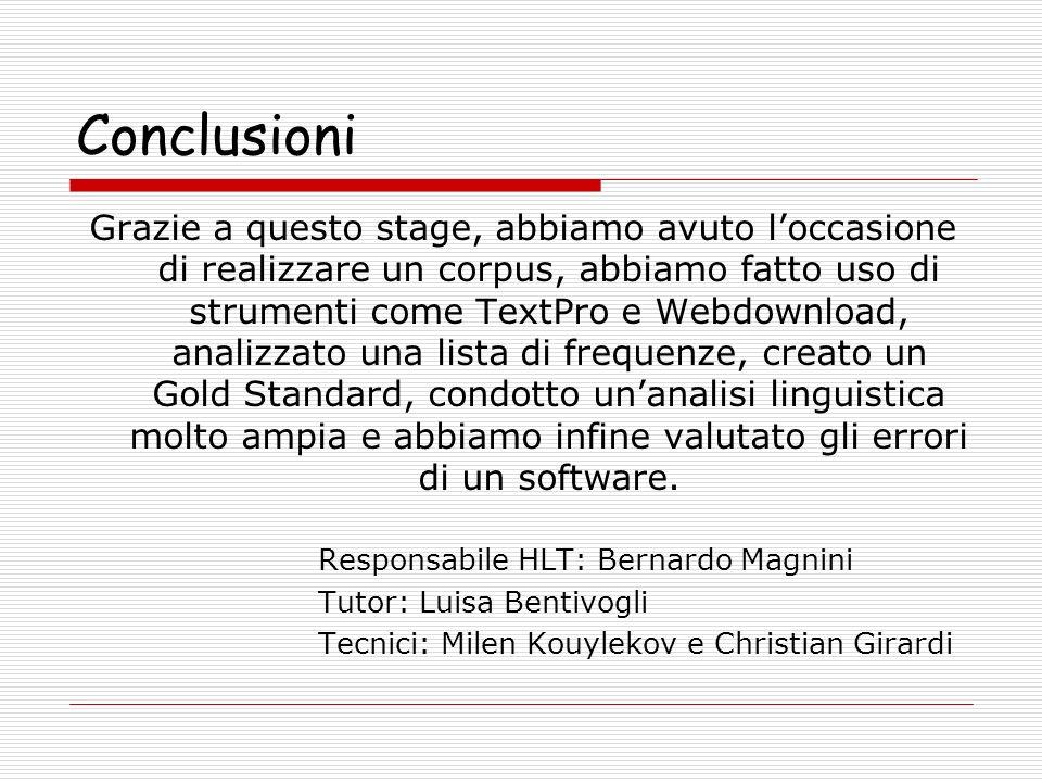 Conclusioni Grazie a questo stage, abbiamo avuto loccasione di realizzare un corpus, abbiamo fatto uso di strumenti come TextPro e Webdownload, analizzato una lista di frequenze, creato un Gold Standard, condotto unanalisi linguistica molto ampia e abbiamo infine valutato gli errori di un software.