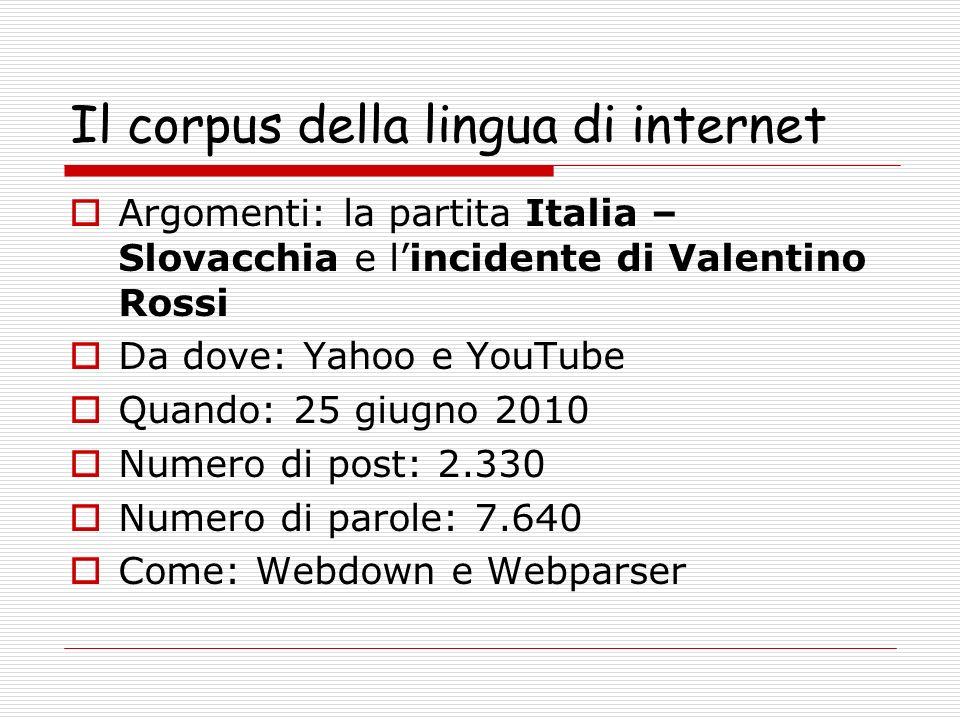 Il corpus della lingua di internet Argomenti: la partita Italia – Slovacchia e lincidente di Valentino Rossi Da dove: Yahoo e YouTube Quando: 25 giugno 2010 Numero di post: 2.330 Numero di parole: 7.640 Come: Webdown e Webparser