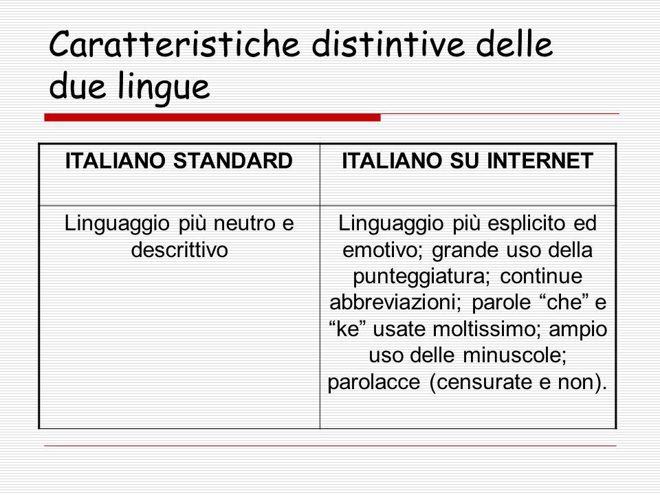 Caratteristiche distintive delle due lingue ITALIANO STANDARDITALIANO SU INTERNET Linguaggio più neutro e descrittivo Linguaggio più esplicito ed emot