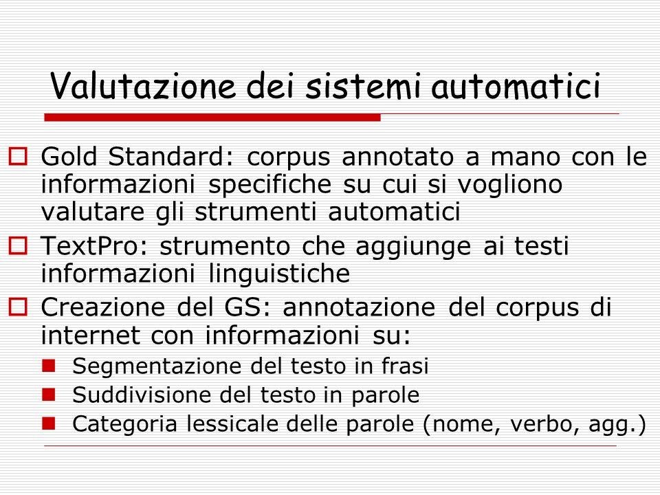 Valutazione dei sistemi automatici Gold Standard: corpus annotato a mano con le informazioni specifiche su cui si vogliono valutare gli strumenti auto